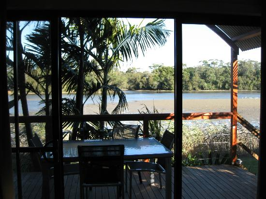 Discovery Parks - Gerroa: View of the river from the living area out through the deck