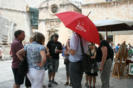 Dubrovnik Walking Tours: Our guide will always be holding a red umbrella!