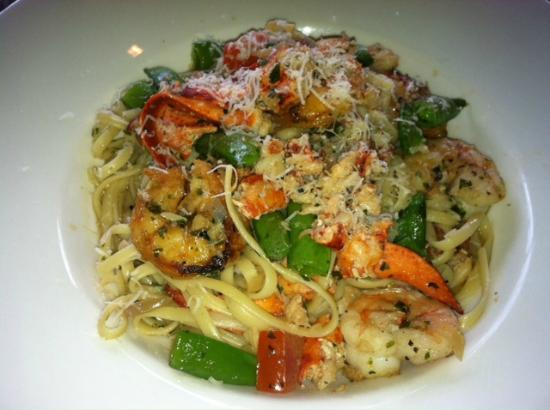 Burtons Grill : Shrimp and Lobster Pasta, Scampi Style over Linguine.