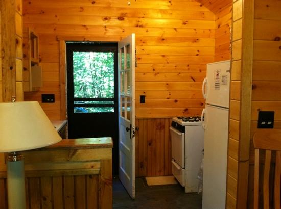 Chenango Valley State Park Campground: inside of our cabin--not all are redone yet