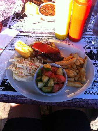 Annie and Clyde's Southern BBQ: Brisket with cucumber-and-tomato salad