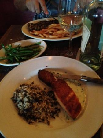 Chez Jacqueline: salmon with wild rice, steak with fries, french string beans