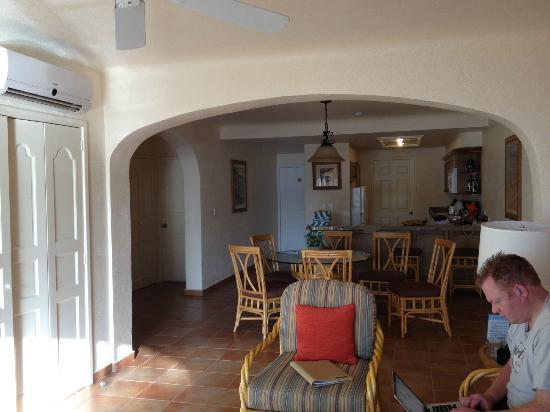 Worldmark Coral Baja: Living & Kitchen area.  Second bedroom in alcove area.  Washer & Dryer behind door in kitchen