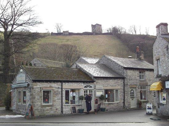 View of Peveril Castle from Castleton village.