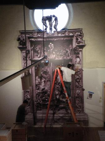 Monterey Museum of Art – Pacific Street: Behind the scenes at the MMA: Installing a replication of Rodin's Gates of Hell.
