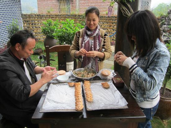 Yangshuo Tea Cozy: homemade dumpling prep by Cherry!