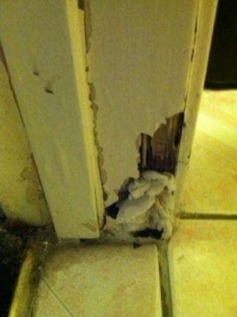 Hollywood Inn Express South: Bathroom door jamb, yes, the paper was stuck in there when we arrived. Gross!