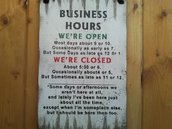 Joe Schmucks Roadhouse: This sign on the entrance door is hilarious
