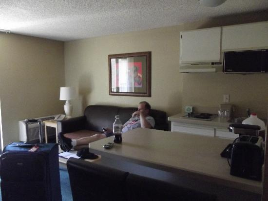 Oxford Inn Suites Lancaster Kitchen Living Room Area With A Real Couch And