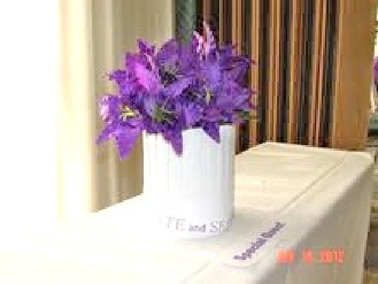 Stadium Hotel: El Palacio Hotel 9th Fl Banquet Rm - Purple Lillies Floral Arrangement - Great Ambiance!