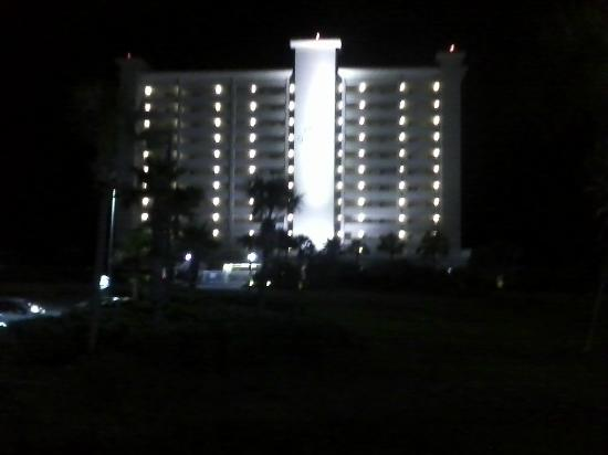 Road view of Destin GulfGate at night.