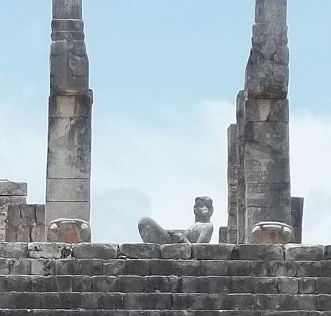 El Castillo: The chacmool at the Chichen Itza ruins. The chacmool had a bowl on his stomach for sacrifical he