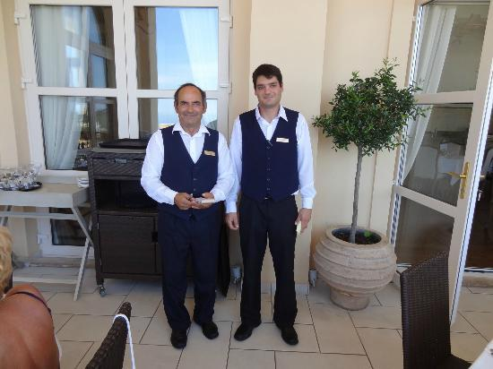 Kampi, Greece: The sous-maitre Yannis and his son