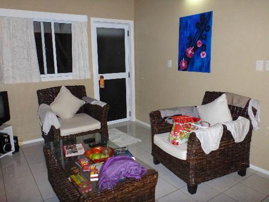 Manea Beach Villas: the lounge area in the 1 bedroom lagoon view unit