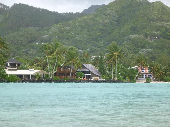 Manea Beach Villas: from across the lagoon looking back onto the resort