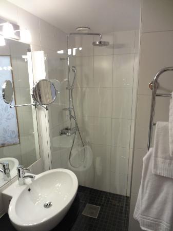 Elite Stora Hotellet: Shower - Small bathroom but roomy enough.