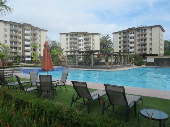 Costa Linda Condominiums: Pool area, deck, buildings, playground