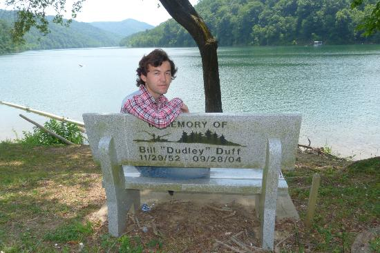 Buckhorn Lake State Resort: Me, sitting on the memorial bench posing for a picutre.