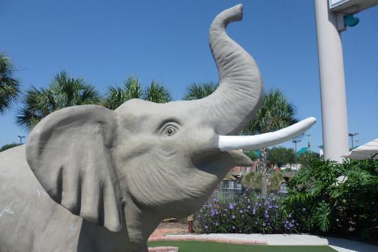 Mighty Jungle Golf, LLC: elephant statue