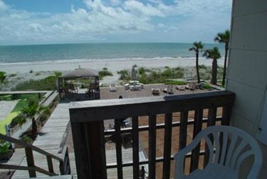 Sun N Fun Beachfront Vacation Rentals: Private porch overlooking the Gulf