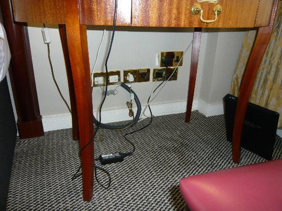 Millennium Hotel London Knightsbridge: The desk is small, the connections require grovelling on the floor.