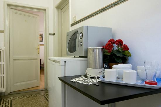 Soggiorno Primavera: Area comune con frigo e bollitore- common area with fridge and kettle