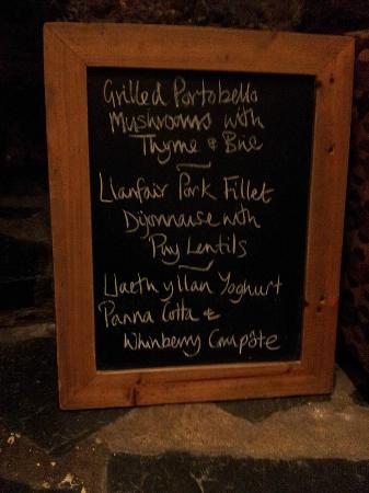 Dolffanog Fawr: One of Lorraine's menus
