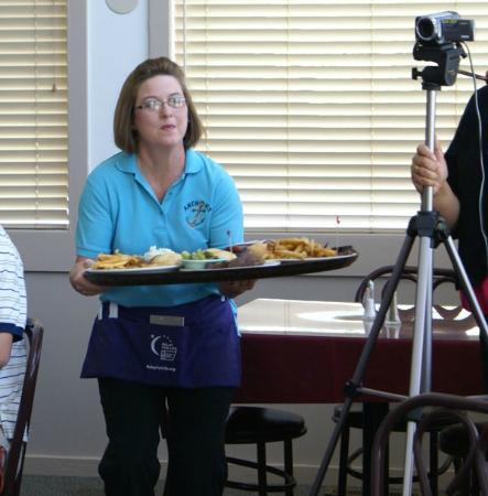 Anchor Family Restaurant: Busy Waitress Avoiding Camera