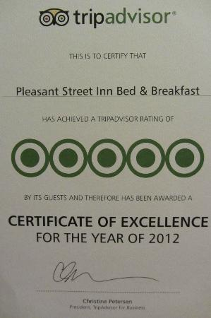 Pleasant Street Inn Bed & Breakfast: Our Award 2012