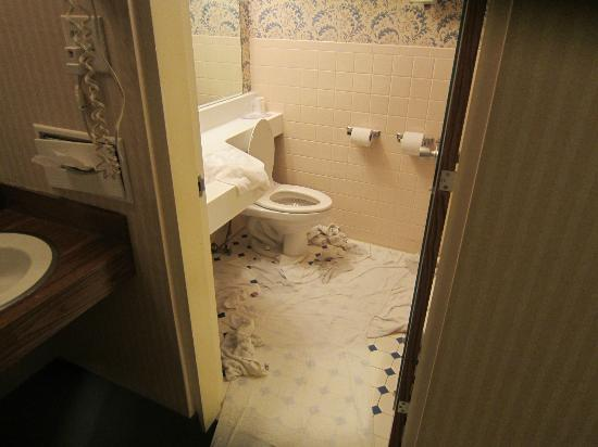 Howard Johnson Inn Harrisburg: bath with toliet water all over the floor