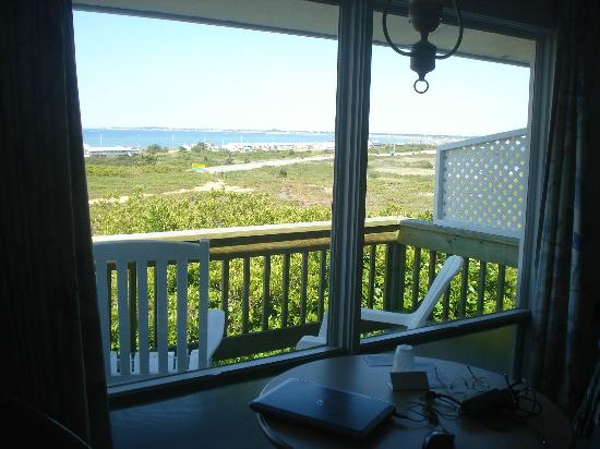 Outer Reach Resort: View from the room, over the deck, towards P'town