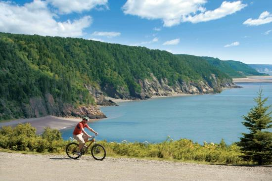 Cycling the Fundy Trail, Bay of Fundy, New Brunswick, Canada