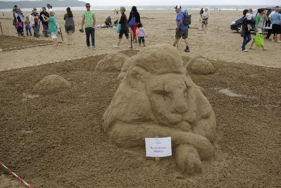 Sandcastle competition Woolacombe Beach - Lion