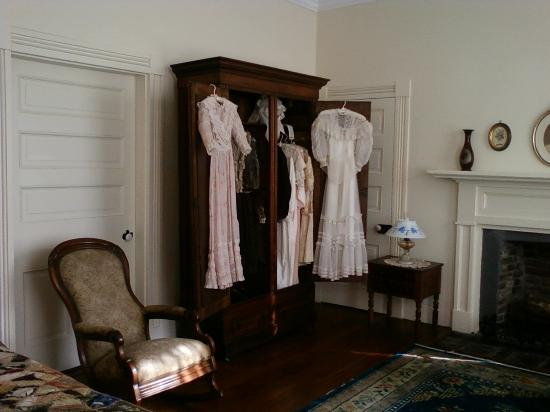 Ivy Green: Some of Helen's and Mrs. Keller's clothing displayed in Capt. & Mrs. Keller's bedroom