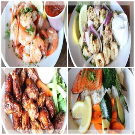"Lighthouse Pub: Keepers Kalamari, ""Best Chicken Wings on the Coast"", Peel N' Eat Shrimp and the salmon dish"