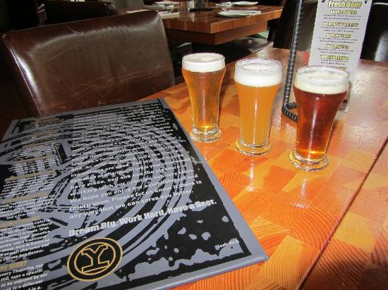 Yaletown Brewing Co : sample glasses and beer menu