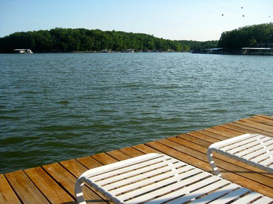 Bass and Baskets : loungers on the dock, plenty of pool toys for swimming