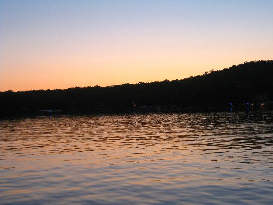 Bass and Baskets: View off the dock at sunset