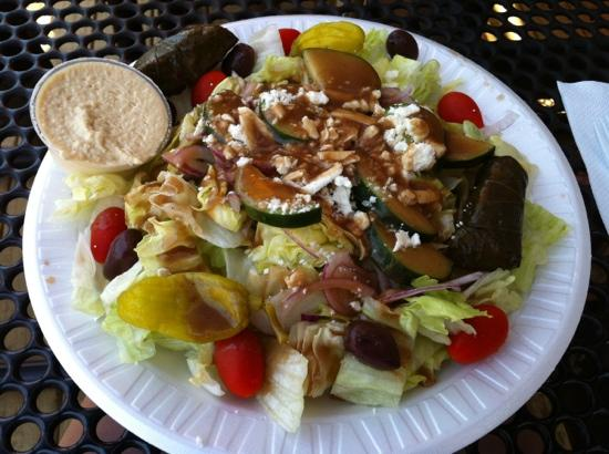 Opa Gyros and Crepes: Greek salad with side of hummus