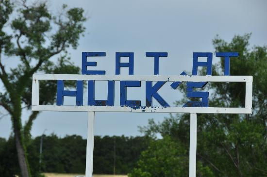 Huck's Catfish : A little suggestive advertising outside Huck's main building.
