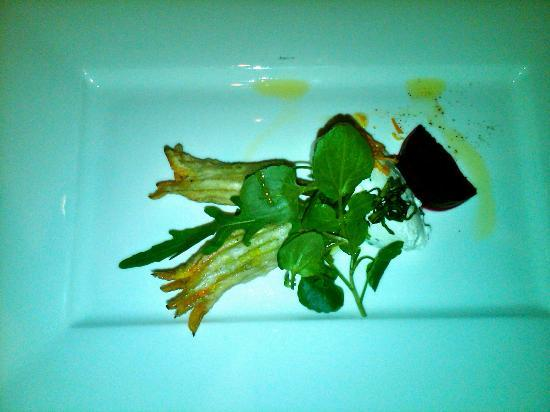 Sala Restaurant: A salad of crisp squash flowers, baby beetroot, Davao goat cheese and candied orange