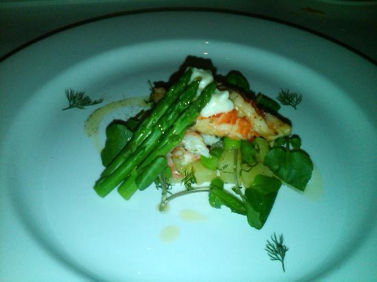 Sala Restaurant: Warm lobster, sweet shrimp, asparagus & soy bean salad with dill & lemon aioli