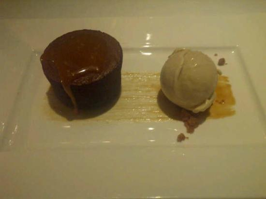 Sala Restaurant: warm dark chocolate fondant, salted caramel and malted milk ice cream