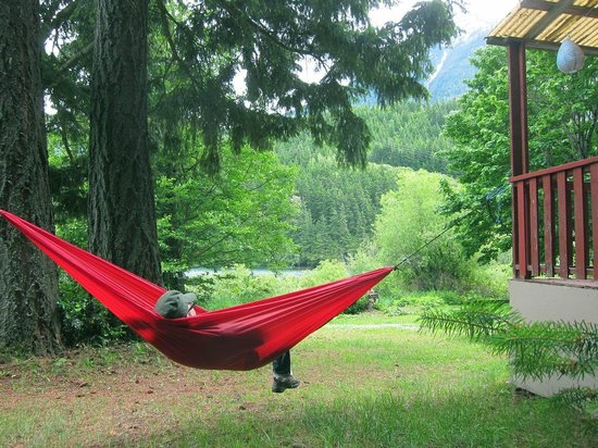 Whispering Falls Resort: between 2 cabins. Bring a hammock, if you have one. Plenty of trees!