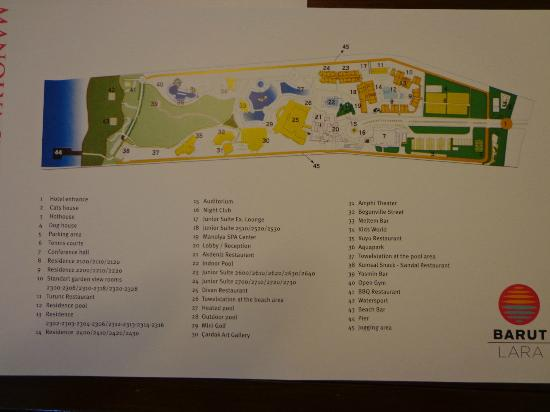 Barut Lara Map Of The Hotel Reception Gives You When Check In