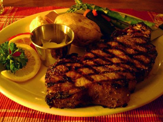 The Open Range: Big, fat, juicy, charbroiled New York Steak.  Mmmmmm!