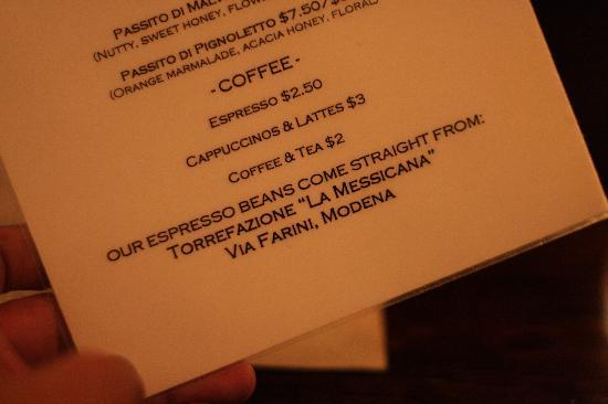 Via Emilia : Menu... il caffè viene da Modena