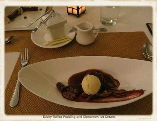 Clifton Inn: sticky toffee pudding with cinnamon ice cream, candied pecans and medjool dates