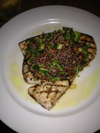 Taste: Swordfish steak topped with a warm salad consisting of quinoa, grape tomatoes, arugula, cucumber