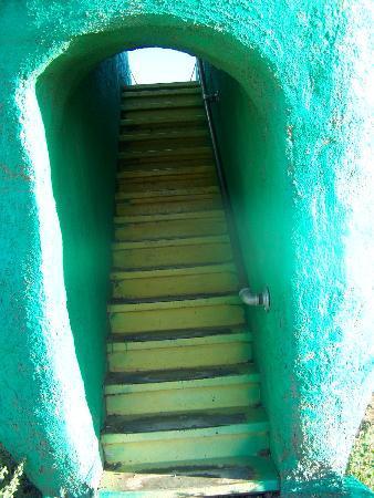 Flintstone Bedrock City: up the stairs of the giant dinosaur slide